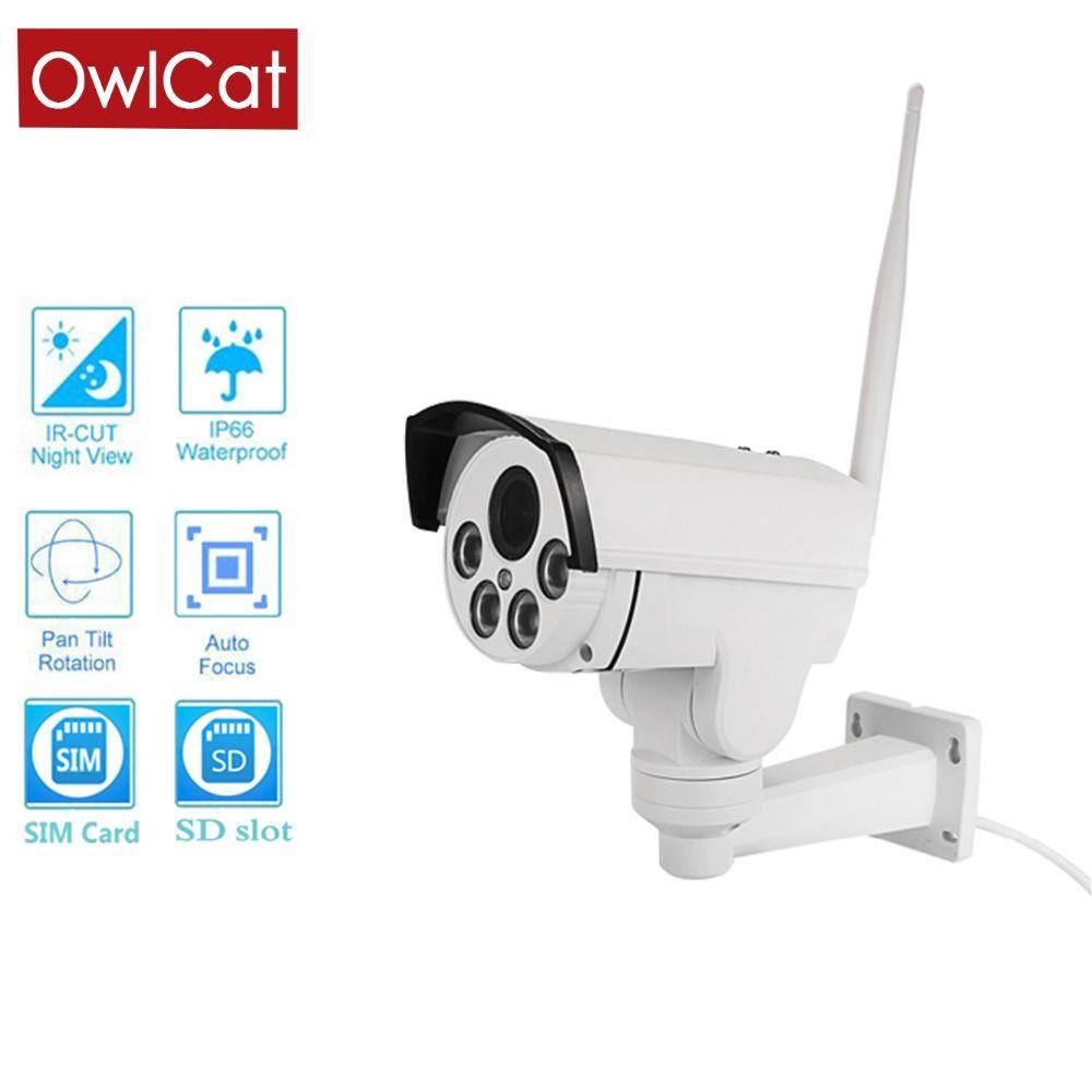 OwlCat HD1080P 960 P 4G SIM karte IP Kamera Wifi Außen Kugel PTZ 5X Zoom Pan Tilt Drahtlose Sicherheit video Überwachung Kamera