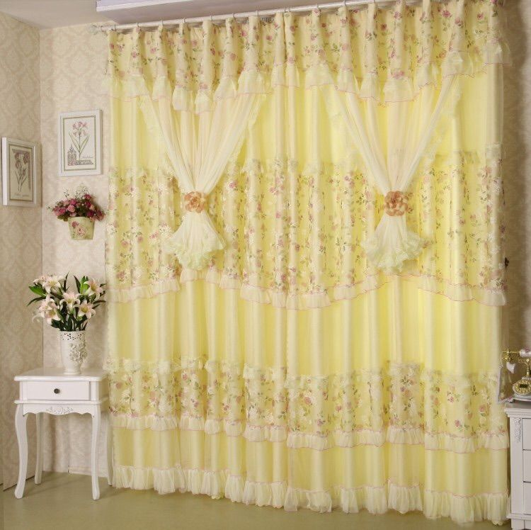 Curtains for Living Dining Room Bedroom New Style European Curtain Flower Yarn Jacquard Fabric Product Customization Window