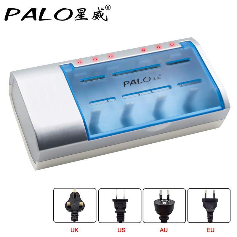 Chargeur de batterie à temps défini PALO contrôle de minuterie Bateria 9.5 heures chargeur pour Batteries rechargeables Nimh Nicd AA/AAA/SC/C/D/9 V