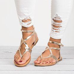 Femmes Sandales Plus 35-43 Femmes Chaussures D'été 2018 Gladiateur Sandales Talons Plats 6 Couleurs Plage Chaussures Femme Doux Sandalias Mujer