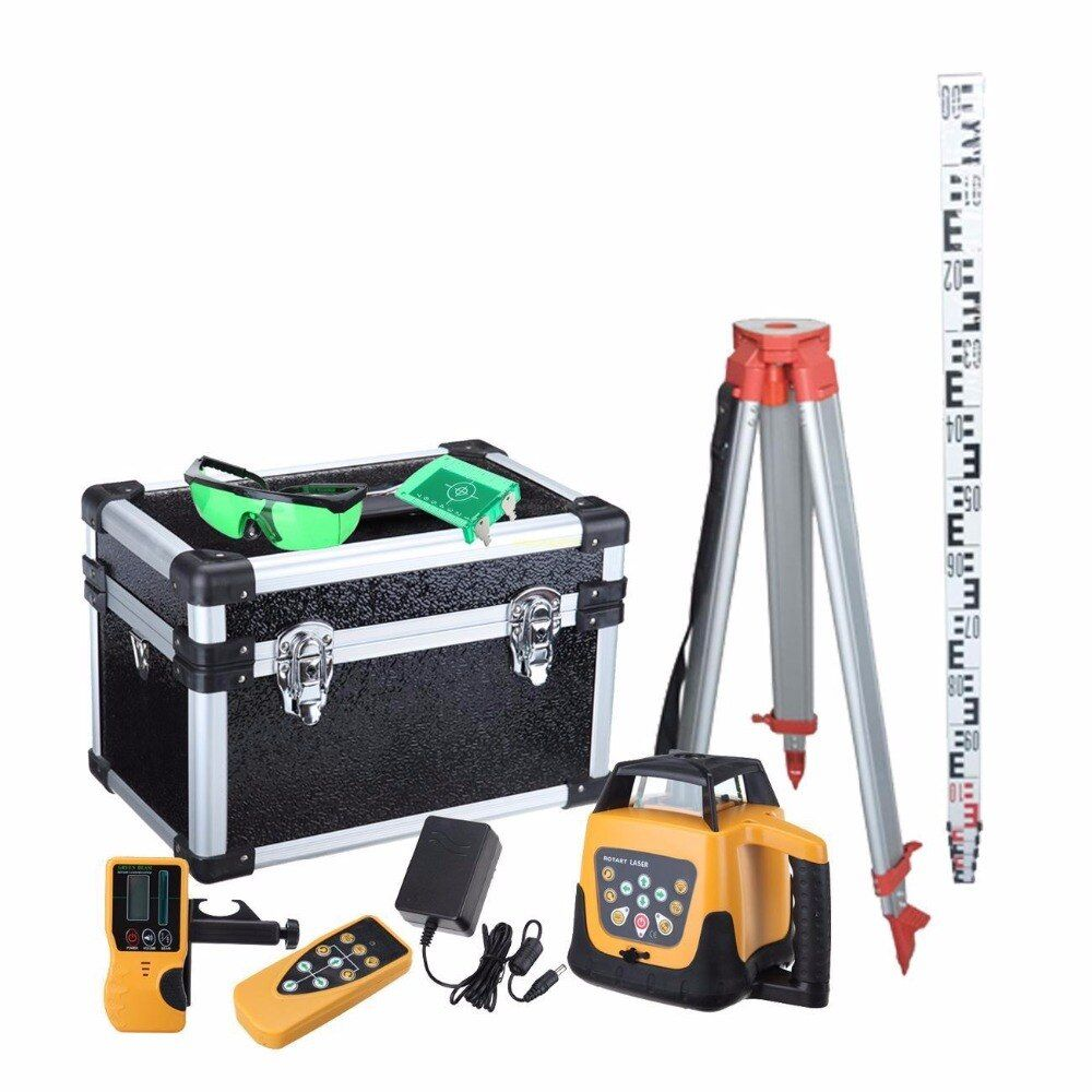 Ship From EU ! Good Quality Lower price Self-leveling Rotary Rotating Laser Level 500m range Green Beam+ Tripod + staff