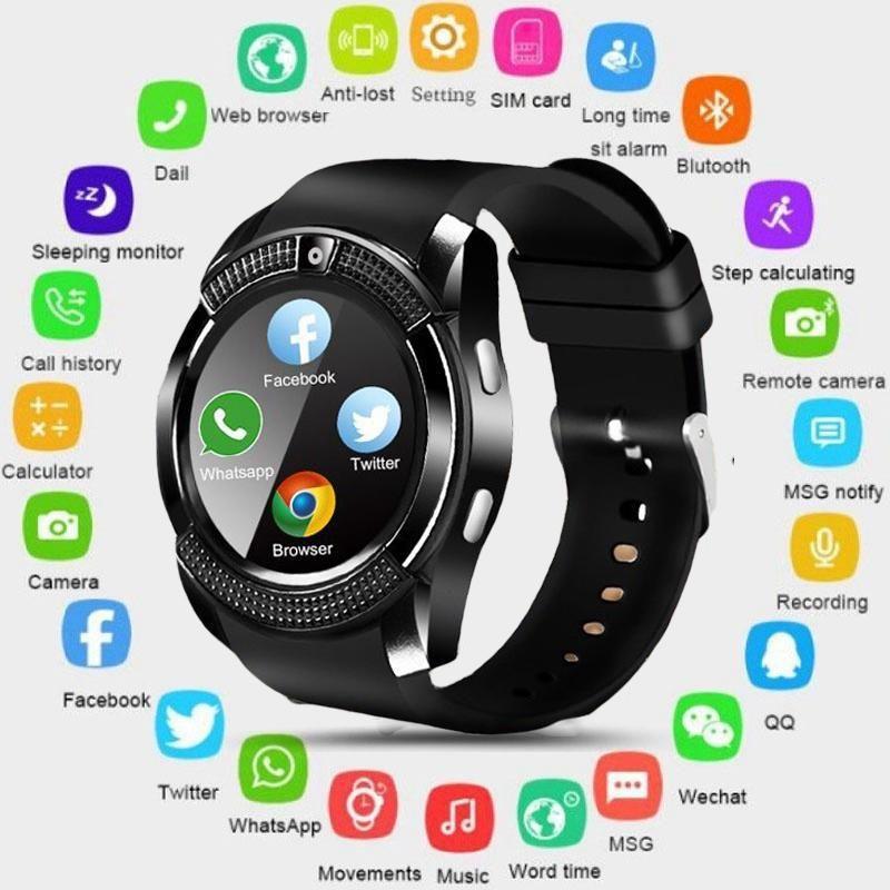 Montre intelligente V8 hommes Bluetooth Sport montres femmes dames Rel gio Smartwatch avec caméra Sim carte Slot téléphone Android PK DZ09 Y1 A1