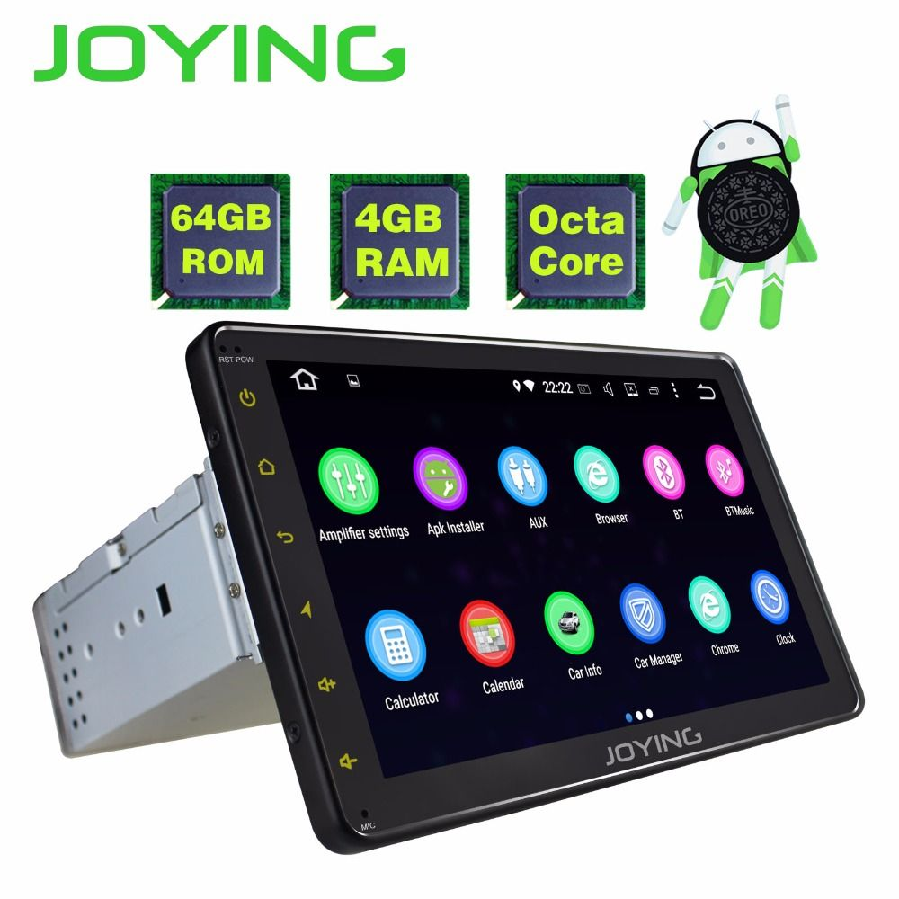 JOYING Latest 4GB RAM 64GB ROM Octa core Android 8.0 car Autoradio stereo head unit 1 din radio 8 inch full touch screen tablet