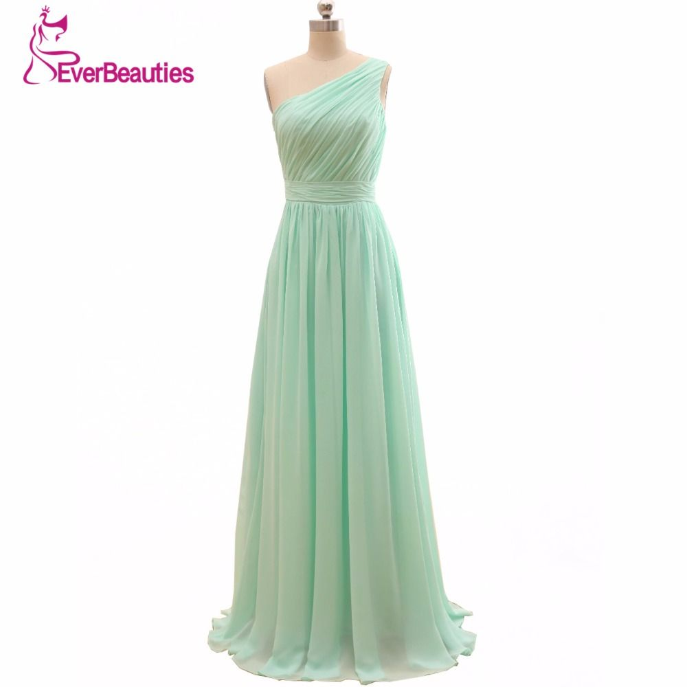 2018 Long <font><b>Cheap</b></font> Mint Green Bridesmaid Dresses Under 50 Floor Length Chiffon a-Line Vestido De Madrinha De Casamento Longo