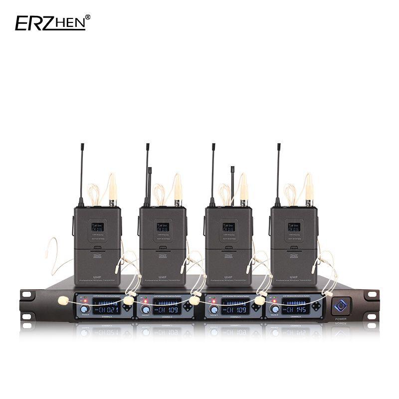 Micro sans fil 4 récepteurs 4 écouteurs micro professionnel 4 canaux transmetteur de revers sans fil + UHF 4000E
