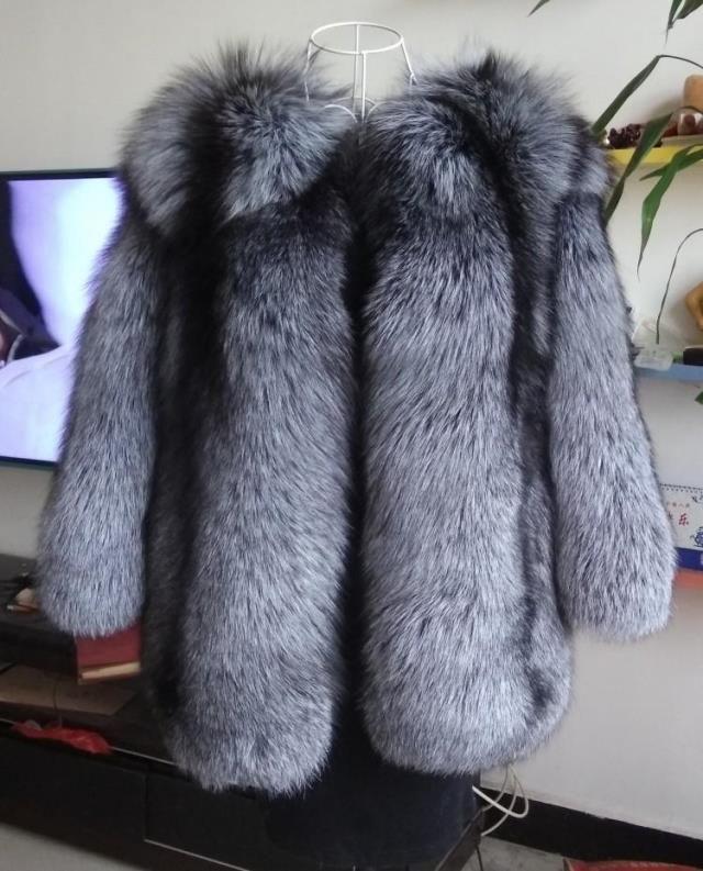 Russische Stil schöne flauschige echtem silber fuchs pelz mäntel frauen Ganze felle Luxus natürliche fuchs pelz jacken mantel