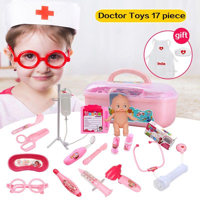 Huanger 17 pcs Médecin Jouer Jouets Ensemble Doctora Juguetes pour Enfant Médical Kit Bébé Éducatifs Boîte Lumière Rôle Semblant Classique cadeau