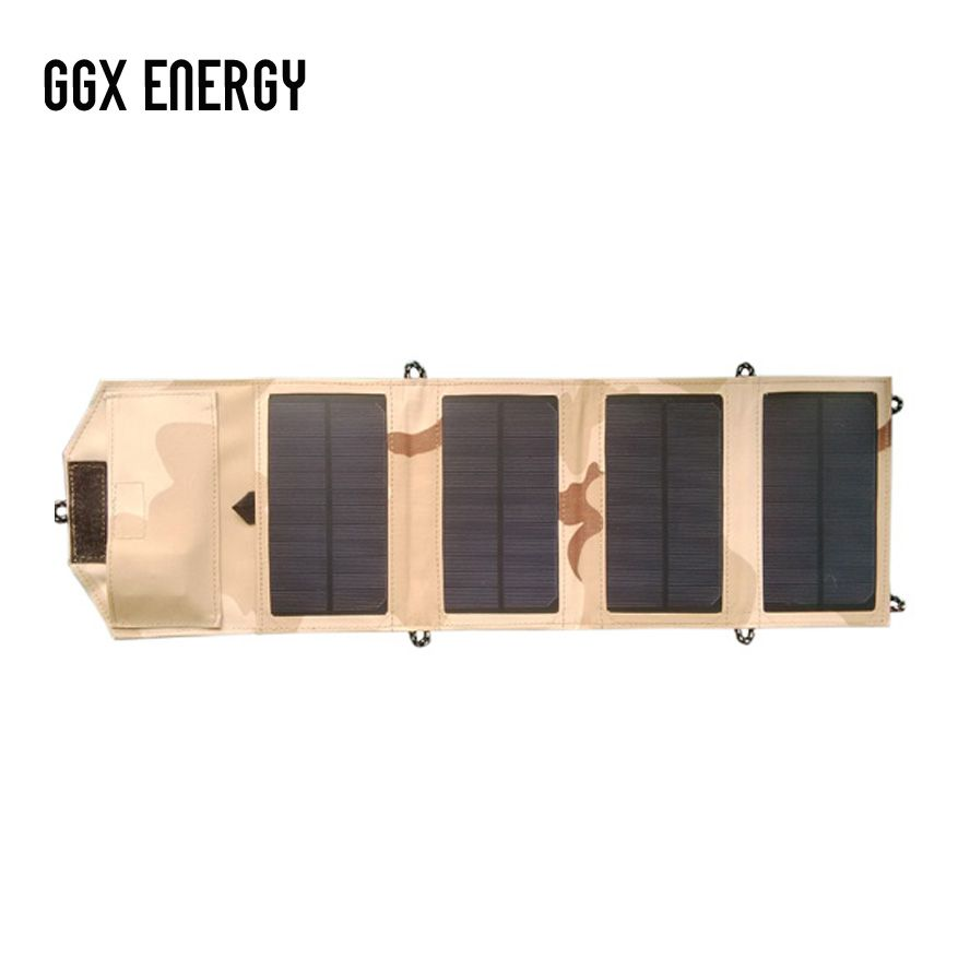 GGX ENERGY Waterproof 8W 5V Portable Folding Mono Solar Panel Charger USB Output Controller Pack for Phones iPhone PSP MP4
