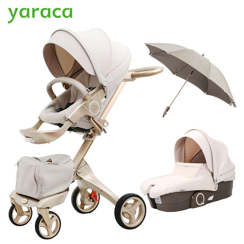 Luxus Kinderwagen Hoher Landschaft Tragbare Kinderwagen Falten Kinderwagen Für Neugeborene Travel System 2 in 1