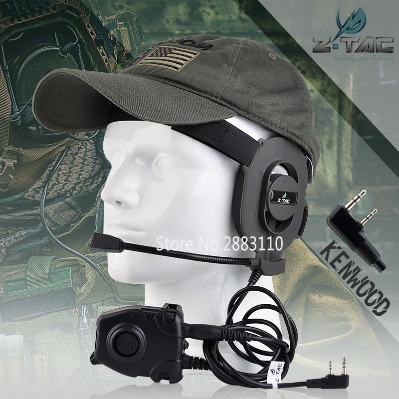 Z-Tactical Airsoft Bowman Elite II Headset Hunting for Kenwood Wearable Earphone Tactical Pins PTT for Pin Military Z027+Z 112