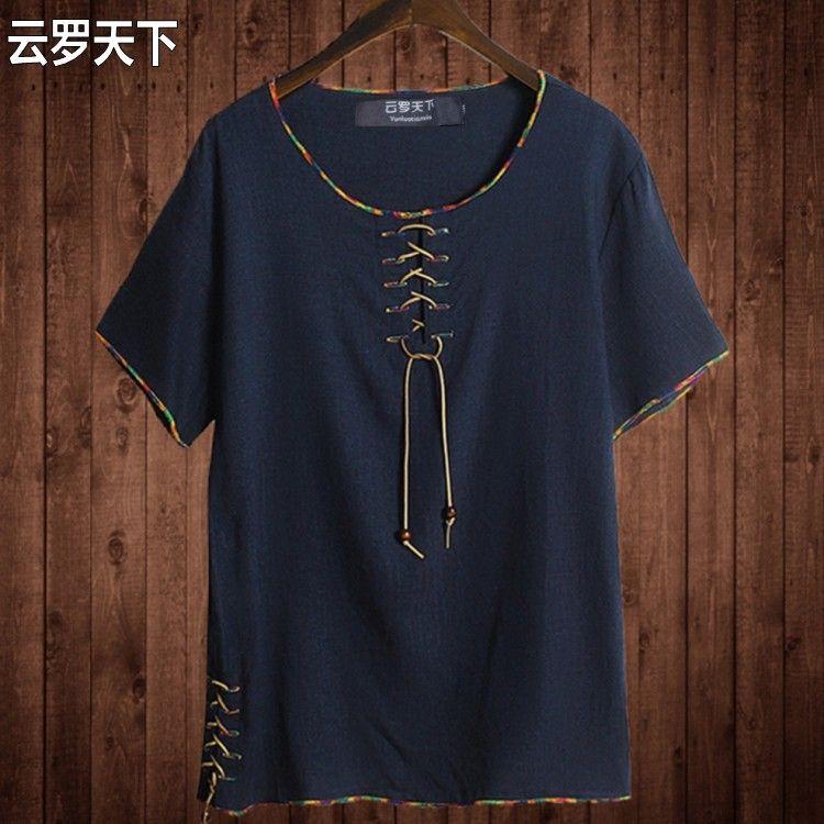 Kostenloser versand Leinen 8XL große oansatz t hemd Chinesischen stil fett kerl plus größe männer Casual short-hülse t-shirt 7XL 8XL 10XL 165 cm