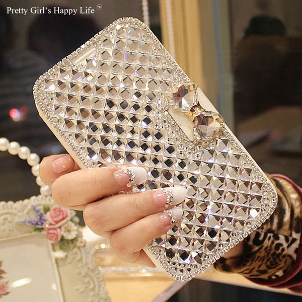 Pretty Girl's Happy Life For Meizu M5s Case Bling Diamond Leather Cover For Meizu M5s Flip Stand Capa Fundas Coque