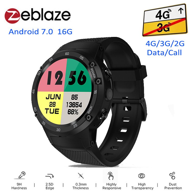 Zeblaze THOR 4 4G Smartwatch Phone Android 7.0 MTK6737 Quad Core 1GB+<font><b>16GB</b></font> 5MP Camera 580mAh 4G/3G/2G Data Call Smart Watch Men