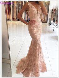 Meerjungfrau Abendkleider V-ausschnitt Appliqued Mit Spitze Perlen Sehen Durch Vestido Longo Prom Kleider Abendkleid