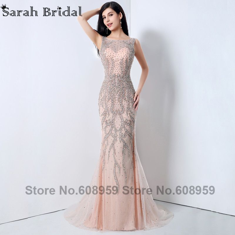 2017 Luxury Beaded Mermaid Formal Evening Dresses Fashion Tulle Long Special Occasion Dresses Sexy Backless Robe De Soire YLN002