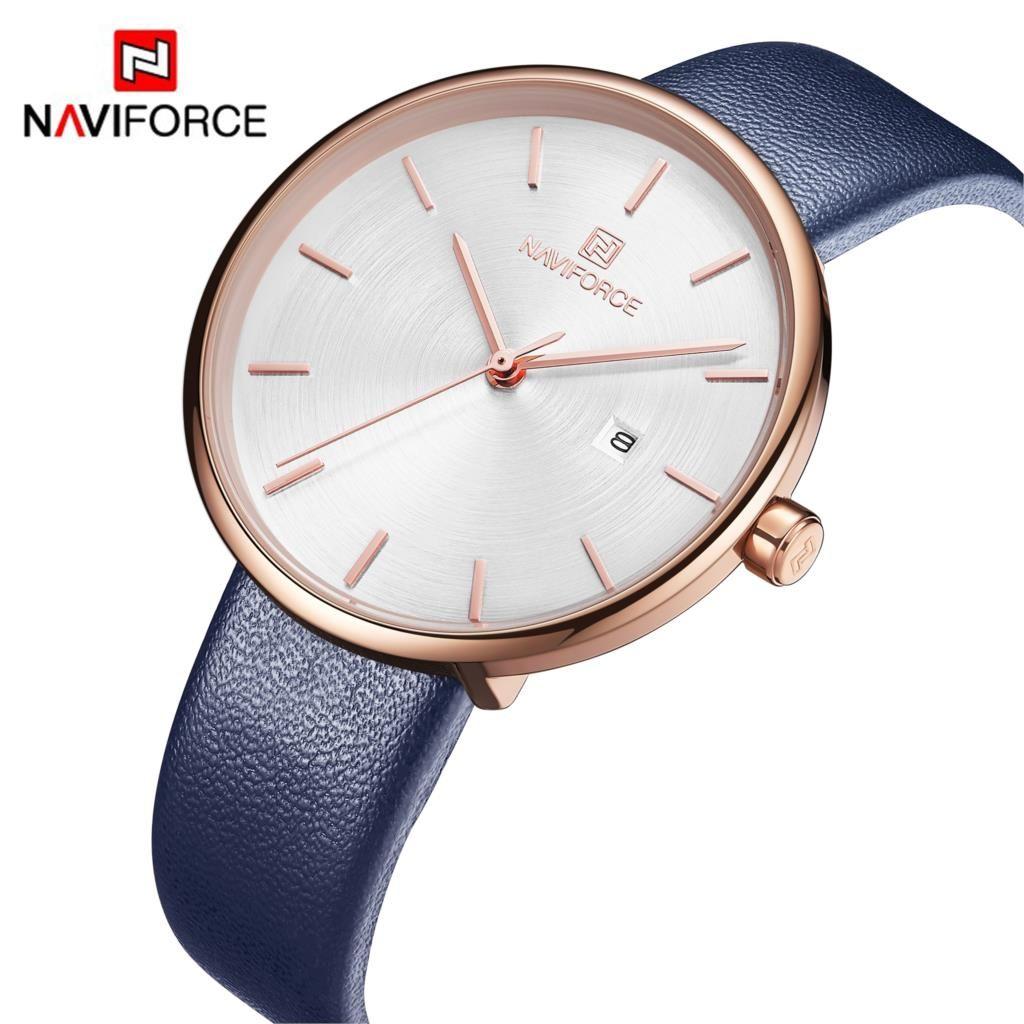 2019 NAVIFORCE femmes montre mode Quartz dame PU bracelet de montre Simple Date décontracté étanche montre-bracelet cadeau pour fille/femme/femmes