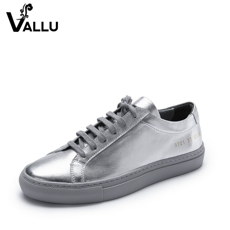 Flat Shoes Women Genuine Leather 2018 Summer Silver Shoes Woman Lace-Up Casual Handmade Flats Woman