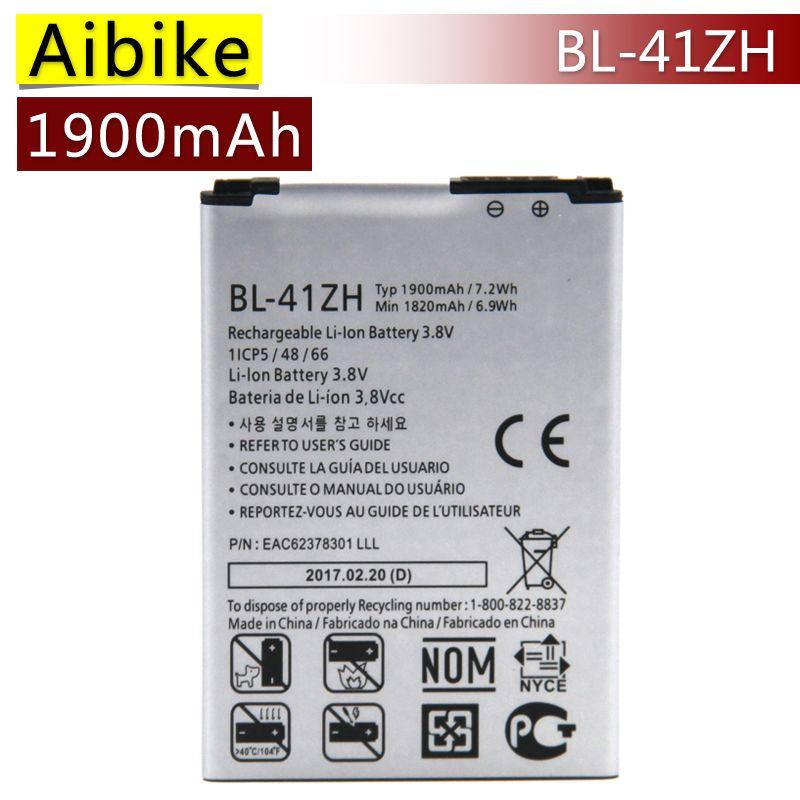 Leon BL-41ZH Aibike Nueva batería original del teléfono móvil Para LG L50 D213N H345 MS345 Homenaje 2 C40 Batería 1900 mAh Real reemplazo