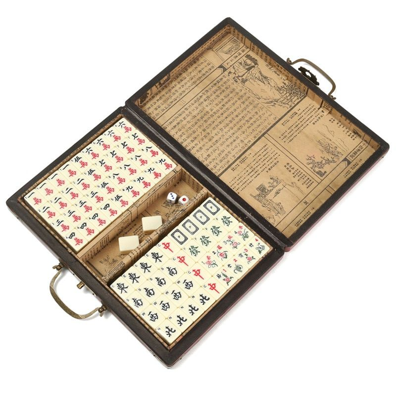 Bamboo Portable Retro Mahjong Box Rare Chinese 144 Mah-Jong Set with Case Box For Board Game Players