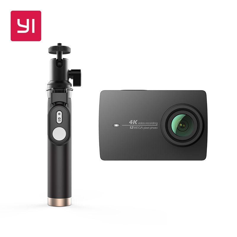 YI 4K Action <font><b>Camera</b></font> Selfie Stick Bundle International Version Ambarella Sport <font><b>Camera</b></font> 2.19 LDC Screen WIFI Black White Pink