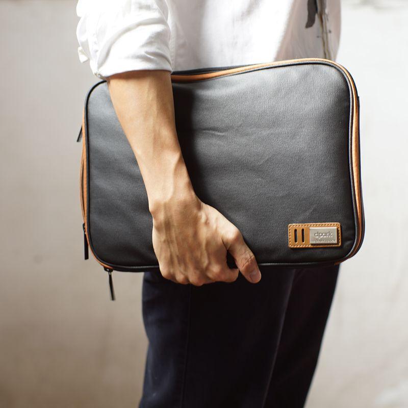 Sacoche étanche en toile pour ordinateur portable avec poignée et poches pour MacBook Air/Pro Retina 13 pouces/ASUS ou 14/15 pouces pour ordinateur portable