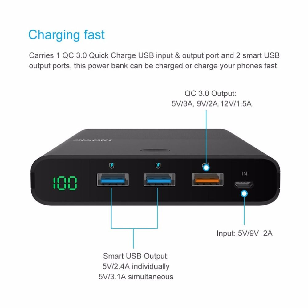 VINSIC 28000MAH Large Capacity Power Bank With QC3.0 Output Mobile Phones External Battery Pack Dual USB Output Phone Charger