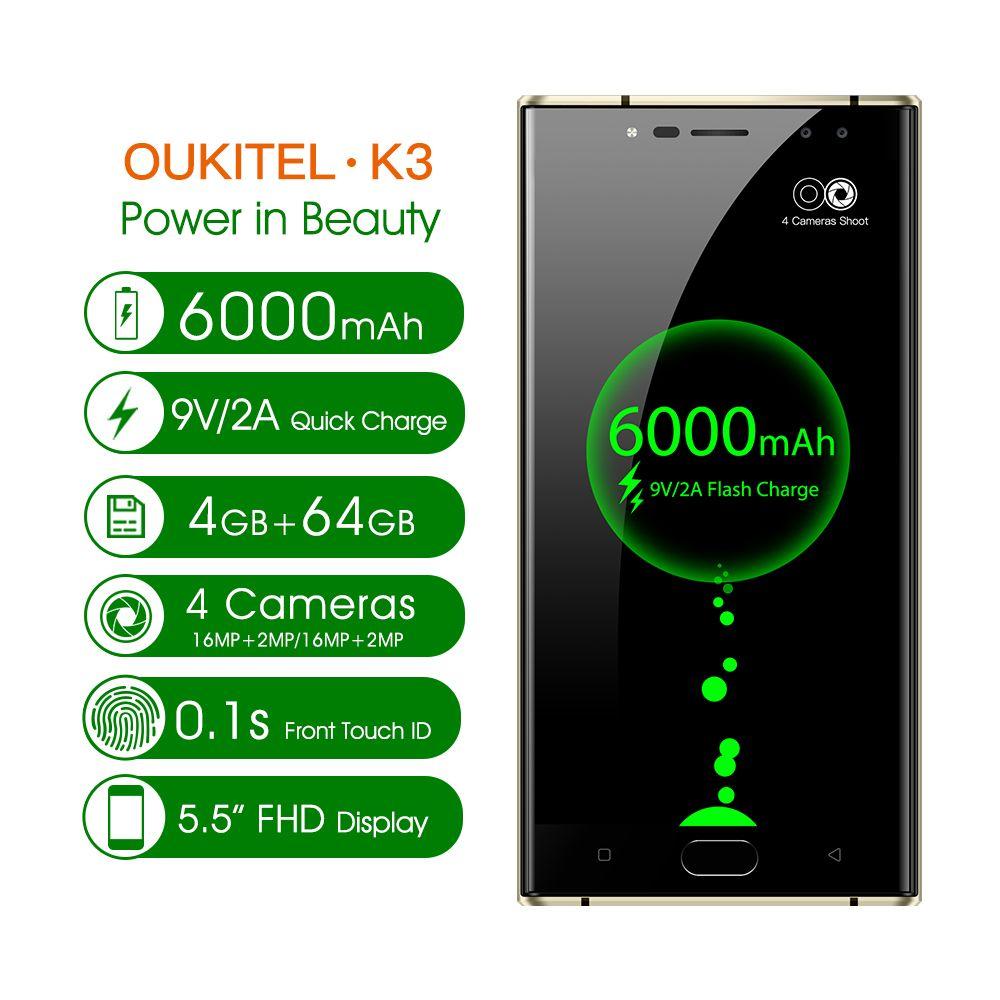 Oukitel K3 Mobile Phone MT6750T Octa Core 4GB+64GB 5.5