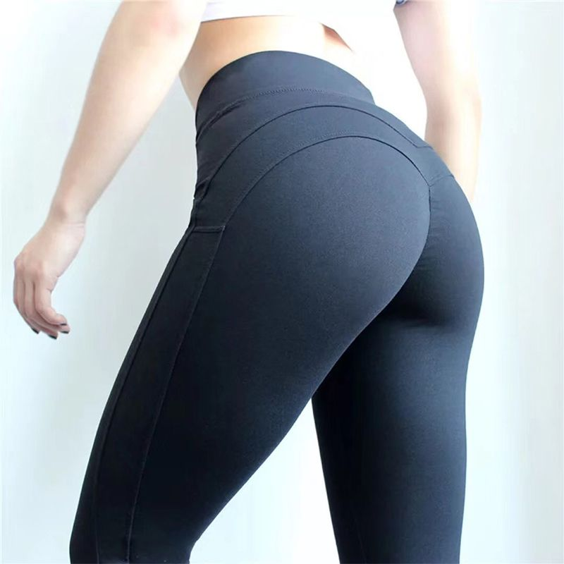 CHRLEISURE Fashion Fitness Leggings Women Push Up Workout Leggins Solid Patchwork Leggings Mujer 2Color