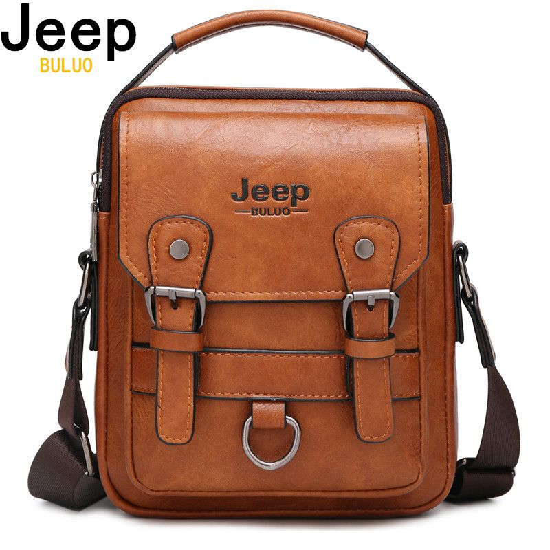 JEEP BULUO Multi-function Men Handbags New Man's Crossbody Shoulder Bag Large Capacity Leather Messenger Bag For Man Travel Cool