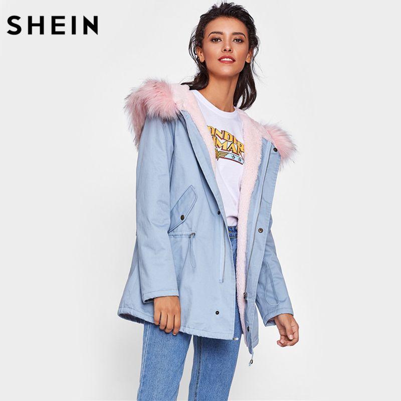 SHEIN Faux Fur Trim Hoodie Drawstring Coat Casual Women Winter Coat Blue Long Sleeve Zipper Hooded Women's Coats