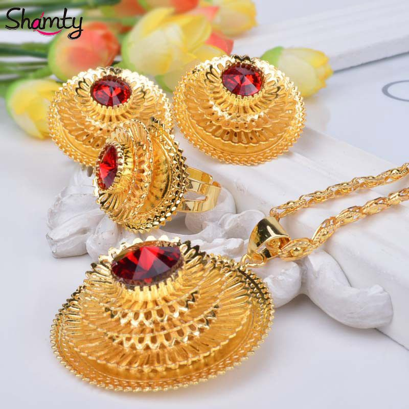 Shamty Ethiopian Pure Gold Color Jewelry Sets Bule Green Red Stone African Nigeria Eritrea Kenya Habesha style Gift Women A30047