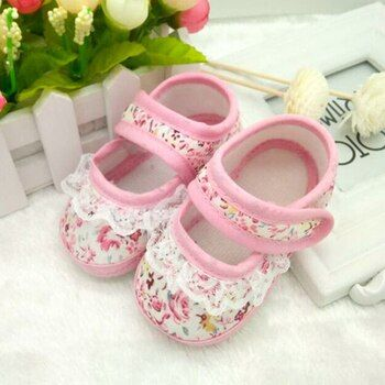 Infant Toddler Baby Boy Girl Soft Sole Crib Shoes Heart Shaped Print Lace Baby Shoes CanvasSneaker Newborn to 4-12 Months