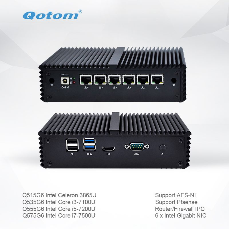 Qotom Mini PC Q500G6-S05 with Celeron Core i3 i5 i7 AES-NI 6 Gigabit NIC Router Firewall Support Pfsense Linux Ubuntu Fanless PC