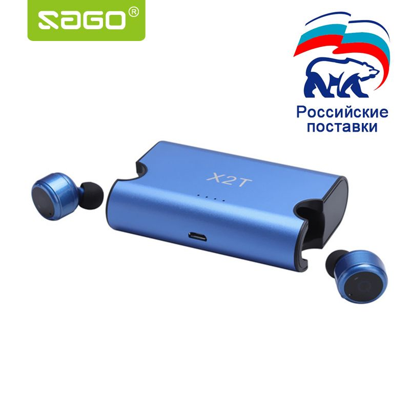 Sago Wholesale price X2T earbuds mini true wireless earphone Bluetooth CSR4.2 headphone with power bank for iphone 8 android