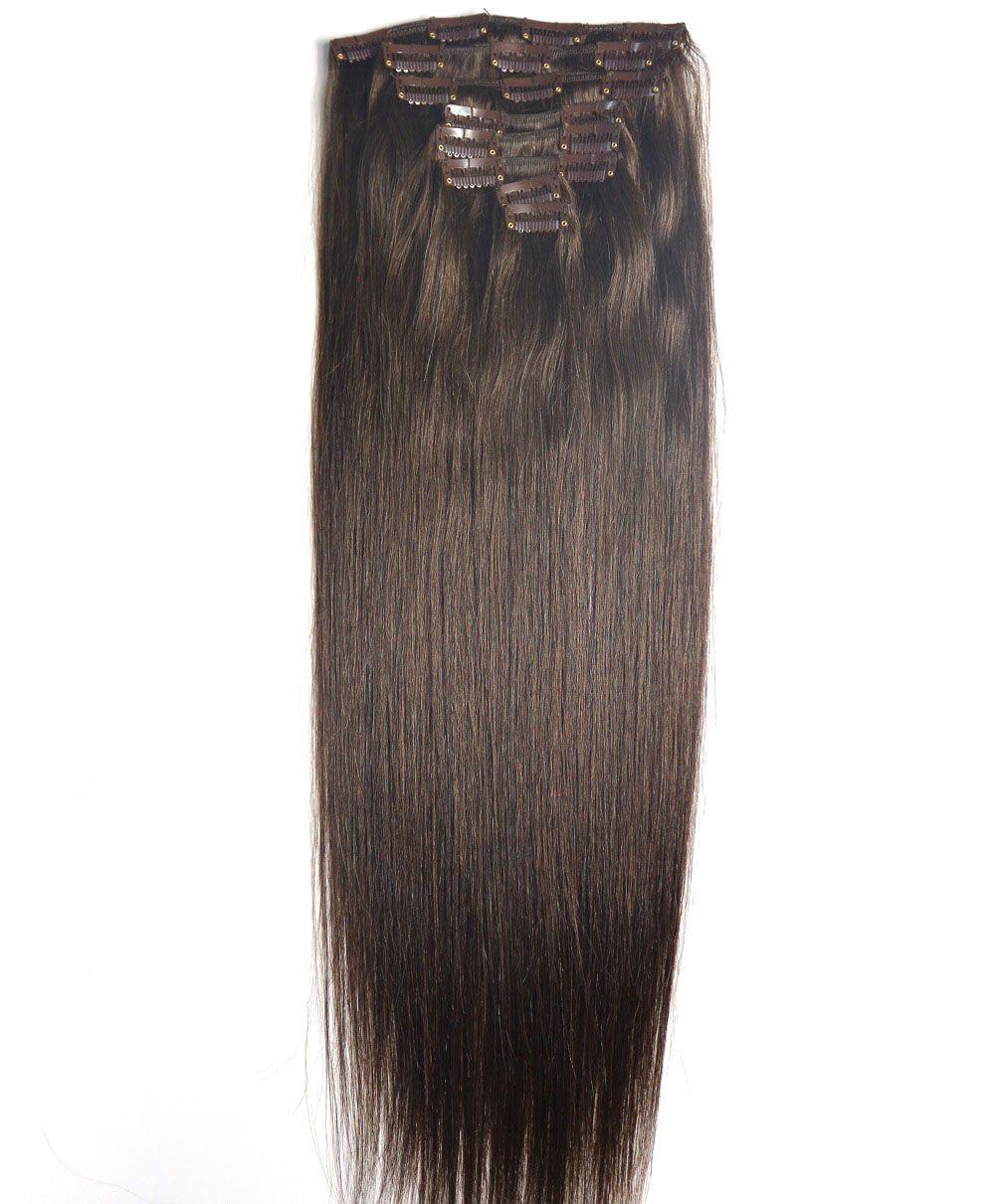 ZZHAIR 100g-160g 16-26 Machine Made Remy Hair <font><b>8Pcs</b></font> Set Clips In 100% Human Hair Extensions Full Head Set Straight Natural Hair
