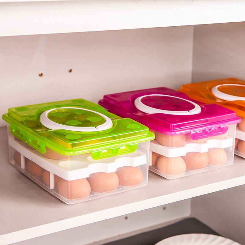 Boîte de rangement d'oeufs de cuisine 24 boîtes d'organisateur de récipient de nourriture de boîte d'oeufs de grille pour le stockage bac à légumes multifonctionnel de Double couche