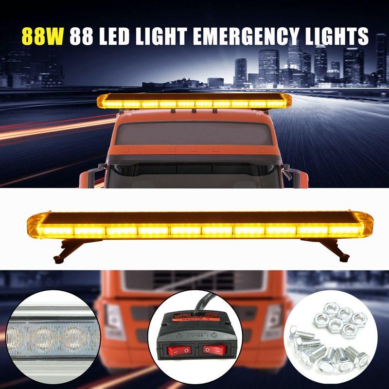 Autoleader 12V Universal 47 Inch 88 LED Light Flash Yellow Warning Light Auto 120x20cm Signal Lamp Emergency Beacon Warn Light