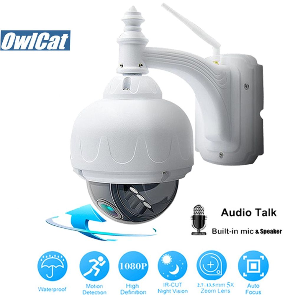 OwlCat SONY323 En Plein Air/Étanche HD 1080 p Dôme PTZ IP Caméra WIFI 2MP 5X Opticl Zoom Sans Fil IR CCTV deux Voies Audio Mémoire slot