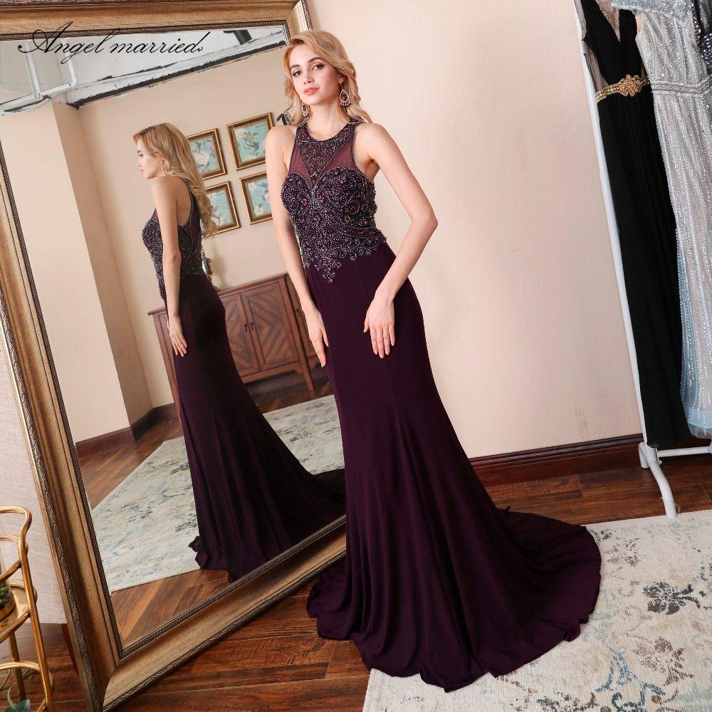 Angel married luxury prom dress mermaid evening dresses beading slim women pageant dress formal party dress robe de soire 2018