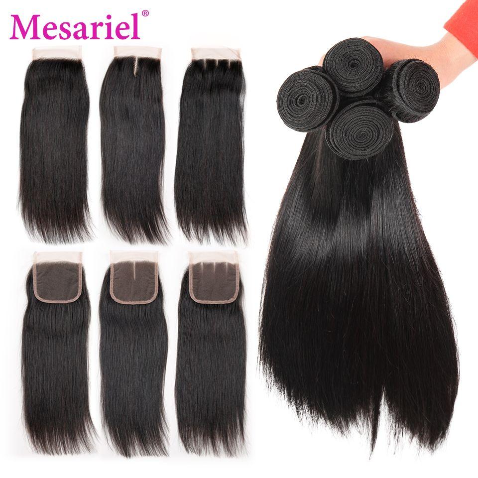 Mesariel Malaysian Hair Bundles With Closure 4pcs/Lot Non-Remy Straight Human Hair Bundles With Closure Natural Black Color