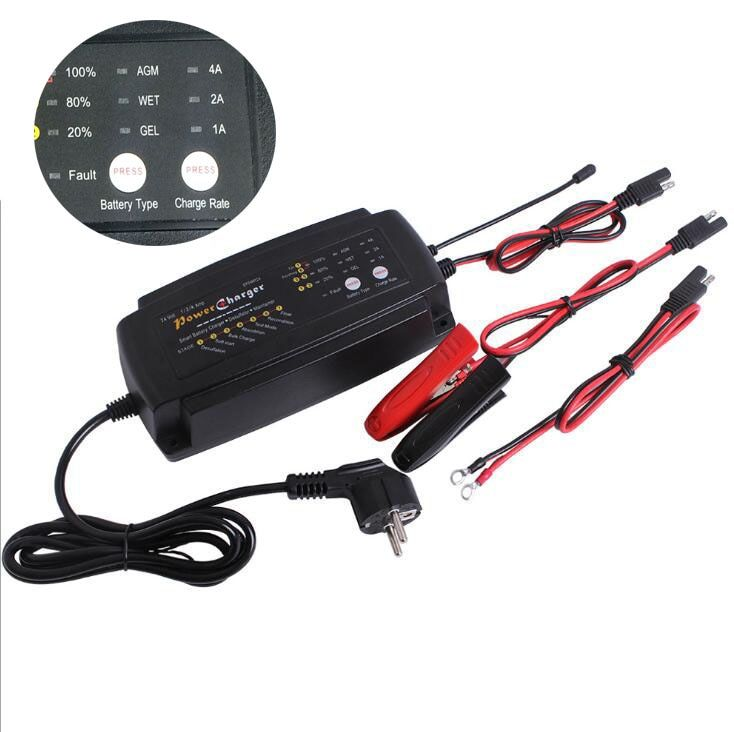 Multi-function 24V 1A 2A 4A 3 in 1 Ebike Scooter Car Battery Charger 7-Stage Maintainer & Desulfator for AGM GEL WET Batteries