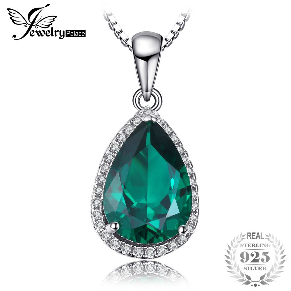 JewelryPalace 3.7ct Emerald Necklaces Pendants Solid 925 Sterling Silver Fashion Jewelry Best Wedding Gift 45cm Chain