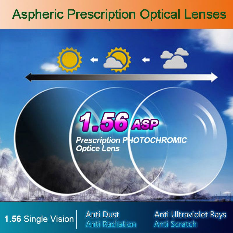 1.56 Photochromic Single Vision Optical Aspheric Prescription Lenses Fast and Deep Color Coating <font><b>Change</b></font> Performance