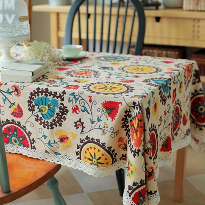 Nappes en lin de coton classique nappe d'impression de tournesol Rectangle avec des couvertures de Table antipoussière de dentelle pour la maison de mariage
