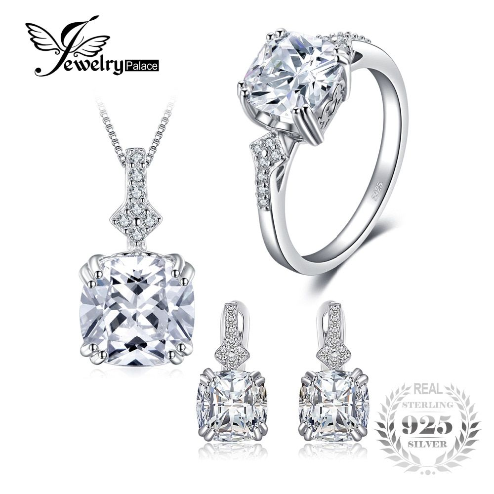 JewelryPalace 9.5ct Cushion Cut Cubic Zirconia Statement Rings Pendant Necklaces Hoop Earrings Jewelry Sets 925 Sterling Silver