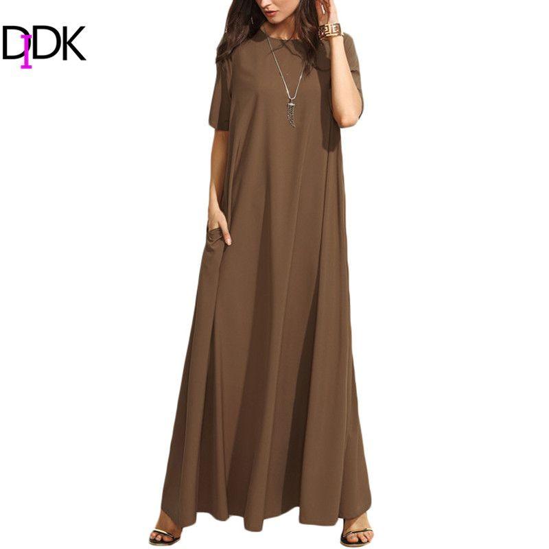 DIDK Summer Casual Long Dresses For Woman Plain Brown Crew Neck Short Sleeve Zipper Back Loose Shift Maxi Dress