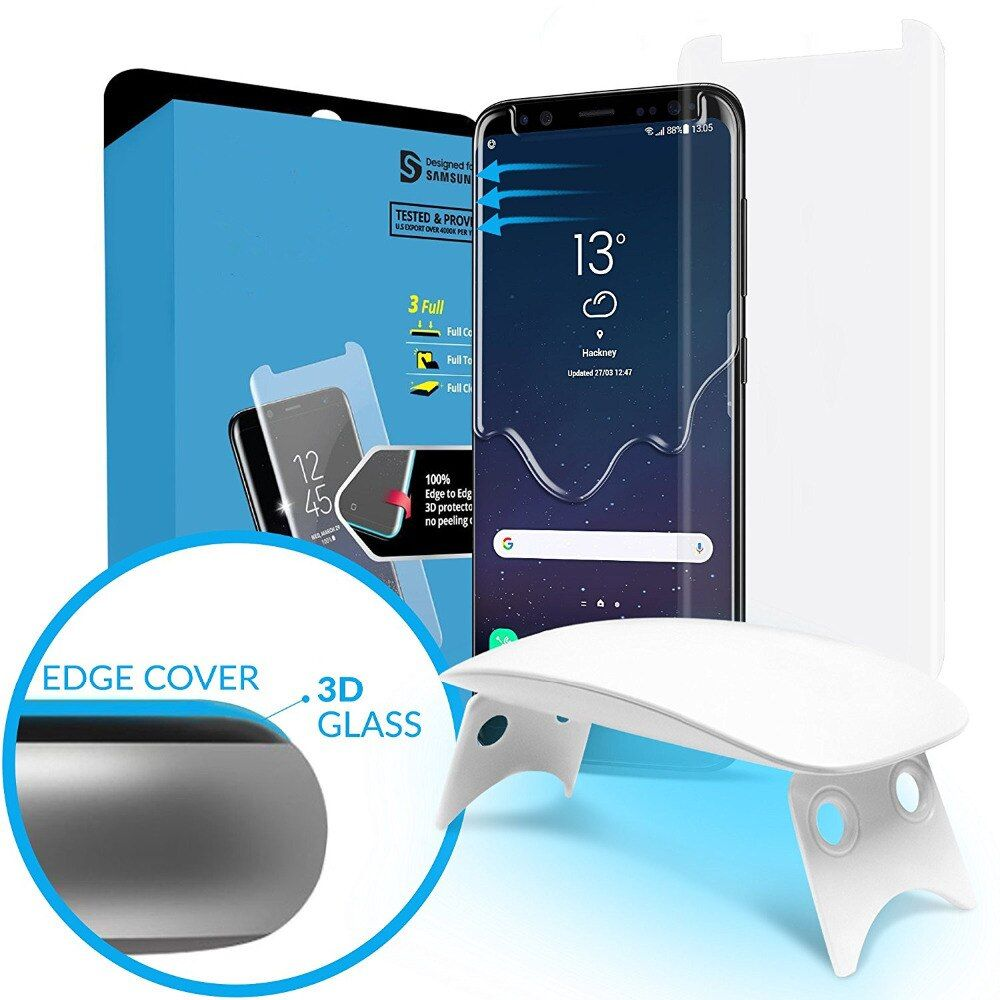 For Samsung Galaxy S9 3D Curved Full Coverage Tempered Glass Screen Protector with Install Kit & UV Light Liquid Dispersion New