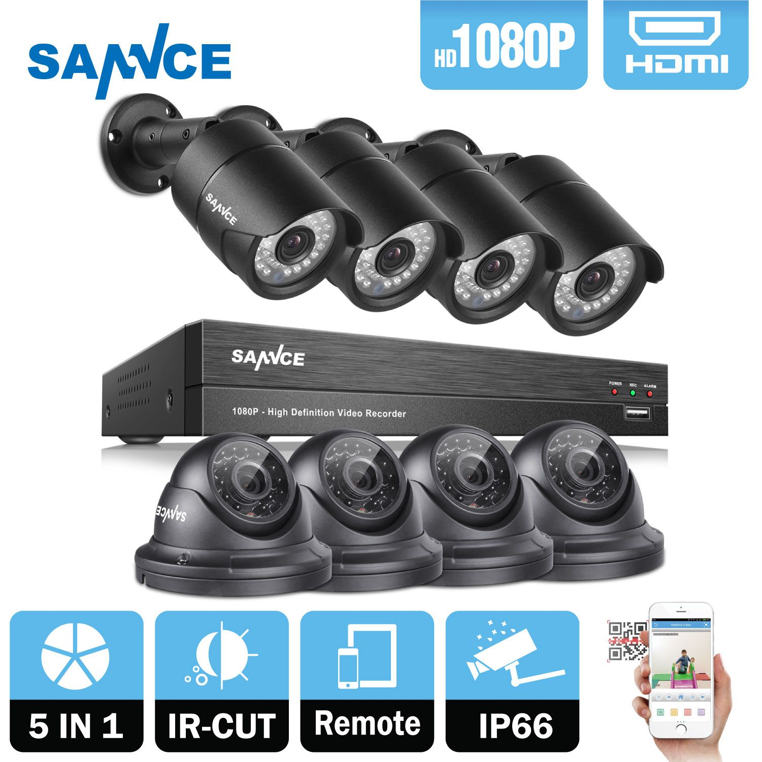 SANNCE 8CH 1080 P 2MP CCTV DVR Recorder 4 STÜCKE 1080 P HD 1920*1080 In/Outdoor-überwachungs Kugel Dome Kamera System & 1 TB HDD Onvif