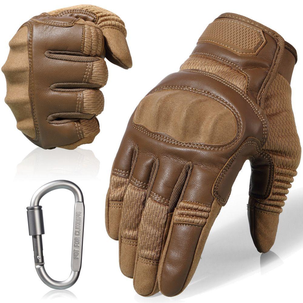 Écran tactile en cuir moto antidérapant dur Knuckle complet doigt gants équipement de protection pour Sports de plein air course Motocross ATV