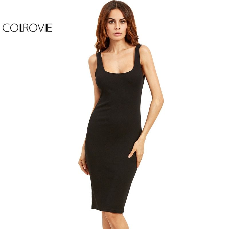 COLROVIE Black Basic Ribbed Summer Dress Plus Size 2017 <font><b>Double</b></font> Scoop Women Brief Tank Dresses Sleeveless Sexy Sheath Midi Dress